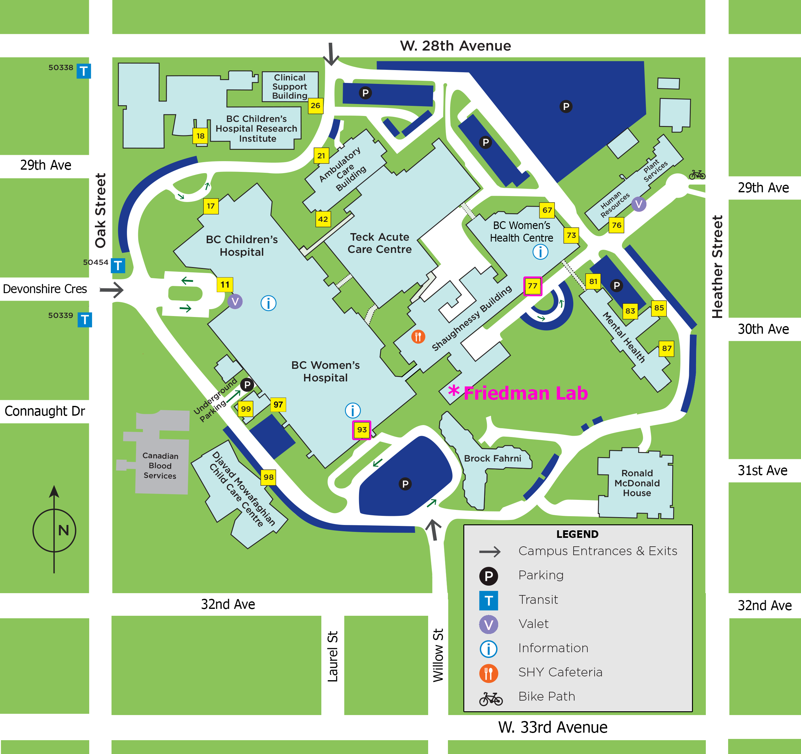 BC Children's Hospital Map